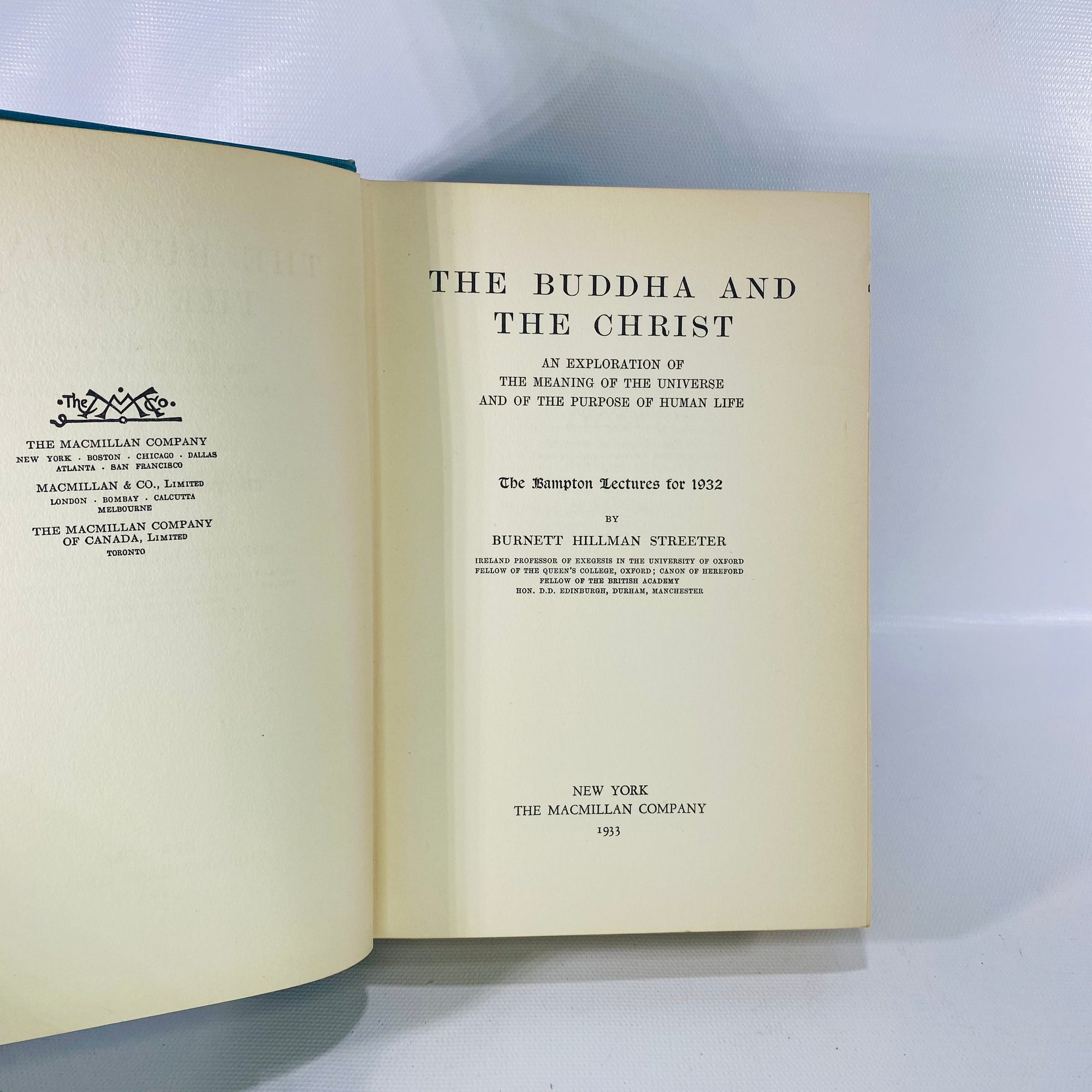 Buddha & the Christ by Burnett Streeter 1933 1st Ed-Reading Vintage