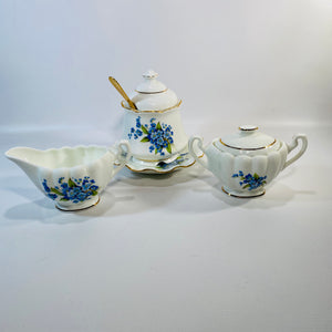 Royal Dover Forget Me Not 7 Piece Cream Sugar Set-Reading Vintage