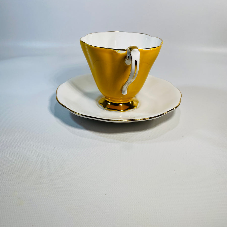 Yellow Royal Standard Fine Bone Footed Teacup &Saucer-Reading Vintage