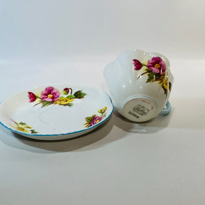 Shelley Begonia England Fine Bone China Teacup &Saucer Reading Vintage
