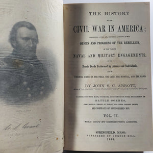 History of the Civil War by John S. Abbot 1862 Volume 1 and 2 An Antique Book Set