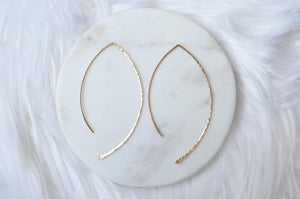 Hammered Wave Earrings - gold
