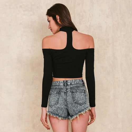 Choker-neck Crop Top