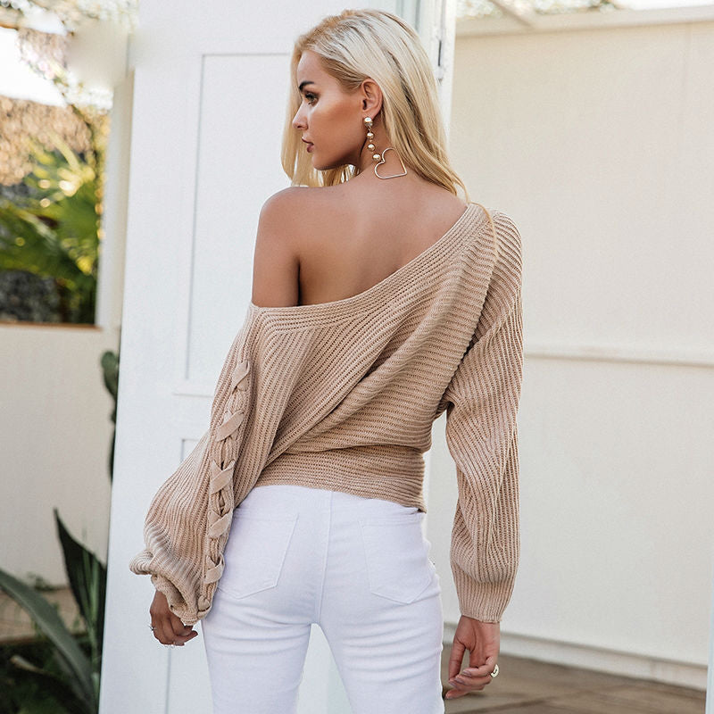 Off-the-shoulder Laced-sleeve Sweater