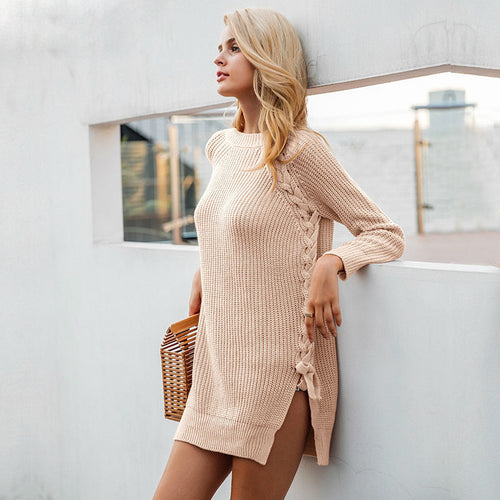 Side-Laced Tunic Sweater