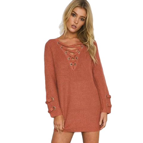 Laced-detail Sweater Dress