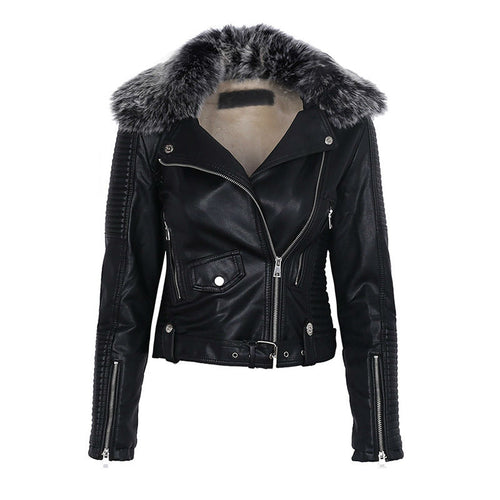 Faux Leather Moto Jacket with Faux Fur Collar