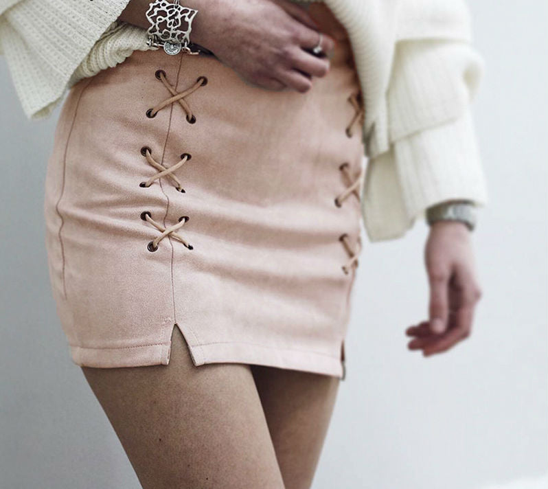 Faux Suede Laced Mini Skirt