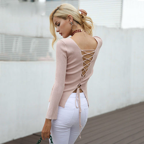 Ribbed Laced-back Sweater