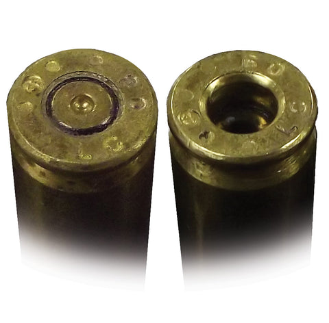 Picture showing comparison of 5.56 shell with intact primer and ream, and same shell with ream and primer removed.
