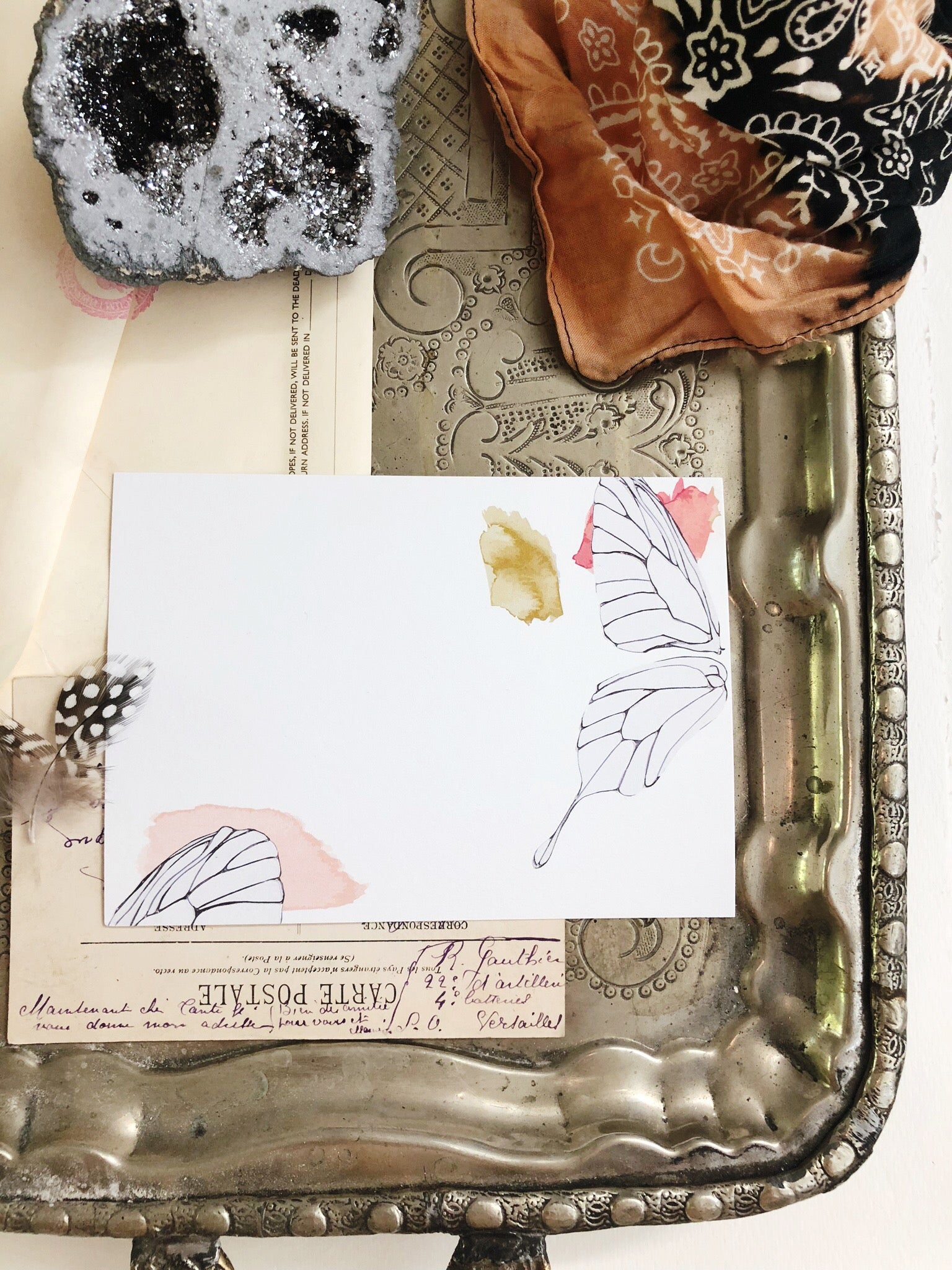 Embossed Butterfly Wing Notecard Set