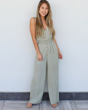 Cali Girl Jumpsuit in Sage