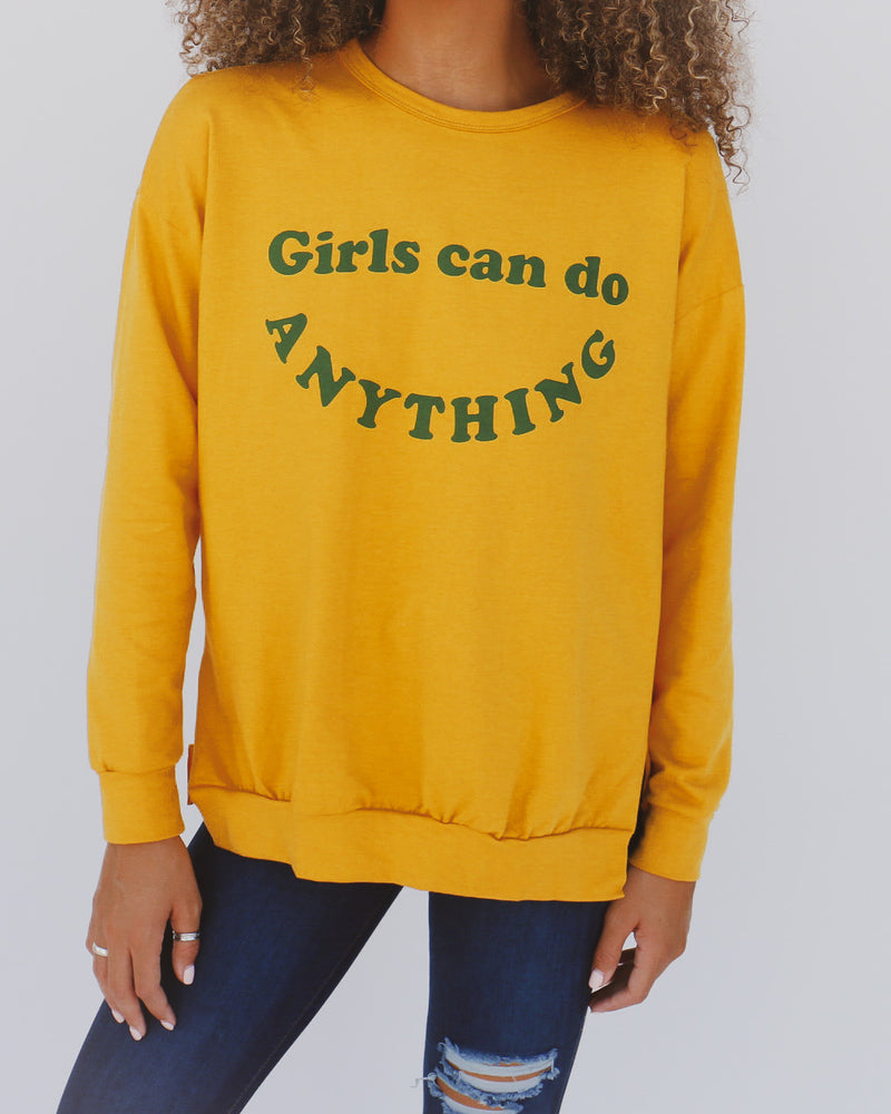Girls Can Do Anything Top in Mustard