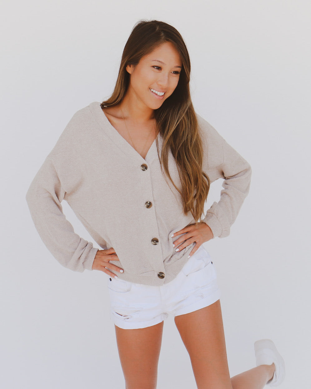 Here to Stay Cardigan in Taupe