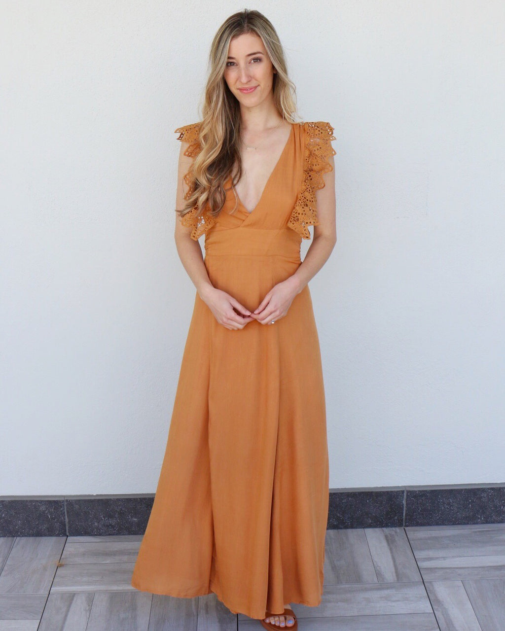 Loraine Dress in Caramel