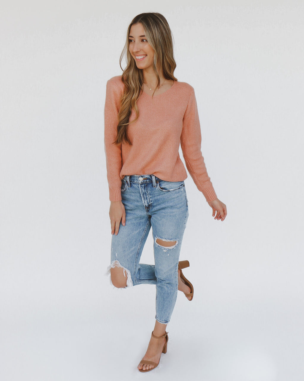 Bree Sweater in Salmon