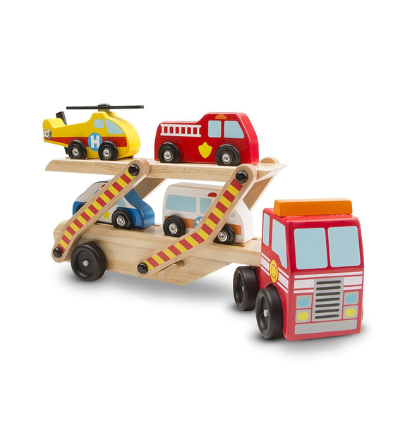 Melissa & Doug Emergency Vehicle Carrier Wooden