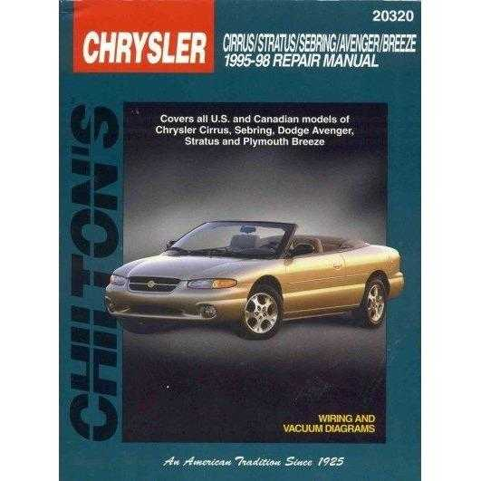 Chilton's Chrysler: Cirrus/Stratus/Sebring/Avenger/Breeze 1995-98 Repair Manual (Chilton's Total Car Care Repair Manual)