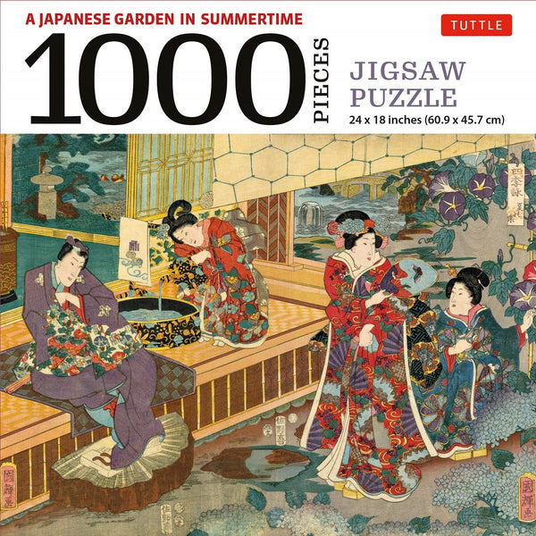 A Japanese Garden in Summertime - 1000 Piece Jigsaw Puzzle: A Scene from the Tale of Genji, Woodblock Print (Finished Size 24 in X 18 In)