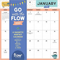 Go with the Flow Desk Calendar 2020: A Magnetic Monthly Calendar Perfect for a Fridge