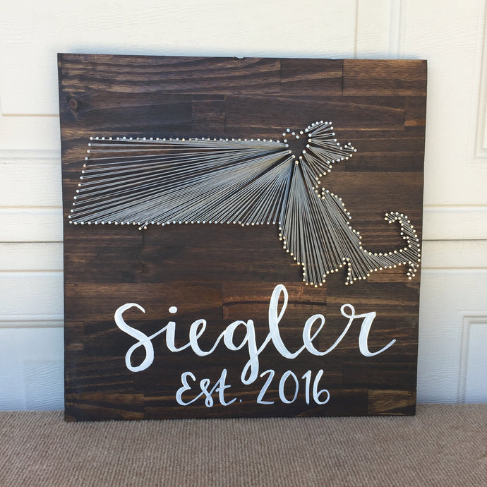 Custom One-State String Art with Hand Painted Family Name