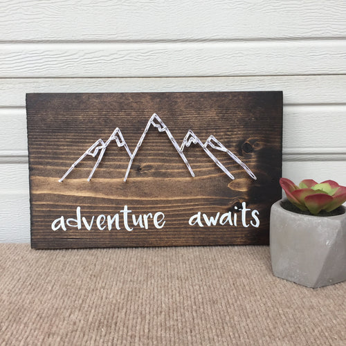 Adventure Awaits with String Art Outline of Mountains