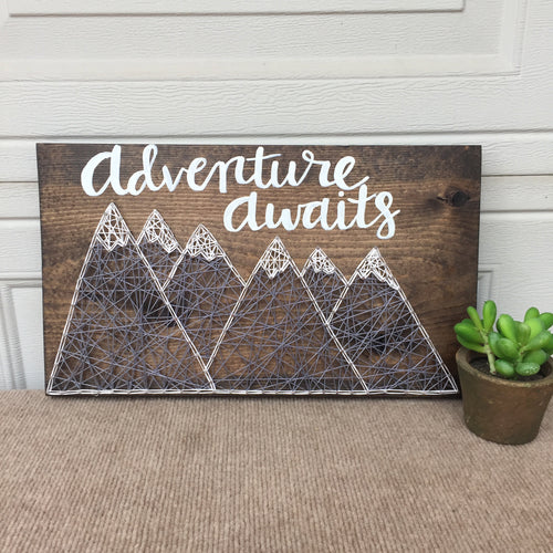 Adventure Awaits Calligraphy with String Art Mountains