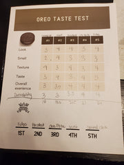 Oreo Taste Score Sheet filled out {Daisy May & Me}