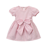 The Albright striped little girl dress with bow