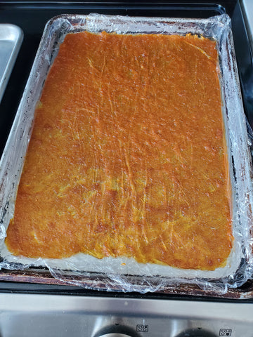 Baked and dried peach fruit leather