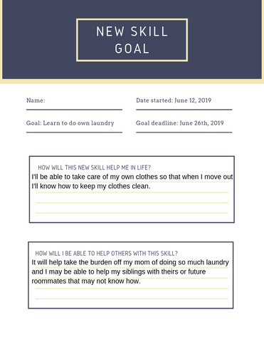 New skill goal sheet example