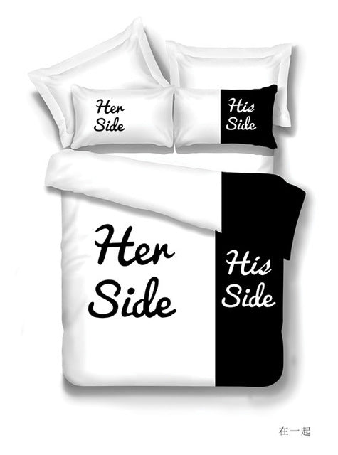 Black&White Her Side, His Side Bedding Sets - Suited For Queen & King Size Double Bed