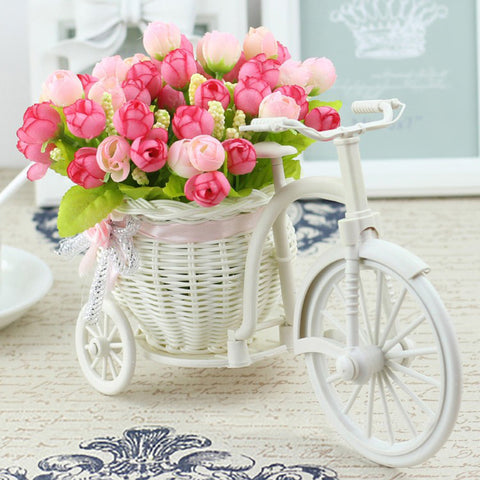 Silk Flowers With A Bicycle Basket