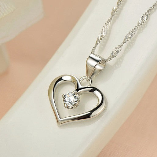Elegant Hollow Heart Pendant Necklace