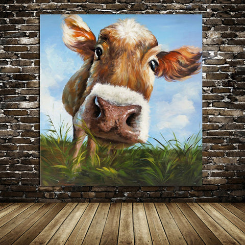 "Image of ""The Curious Cow"", Hand-painted Wall Picture"