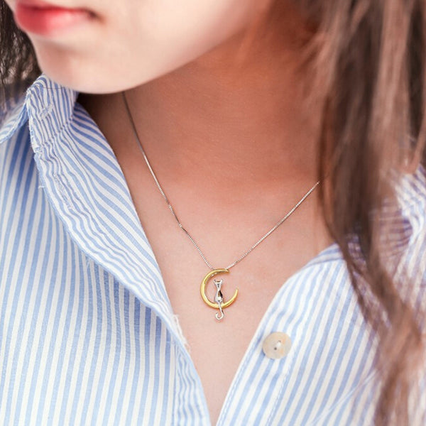 "Pendant Necklace ""Cat&theMoon"""