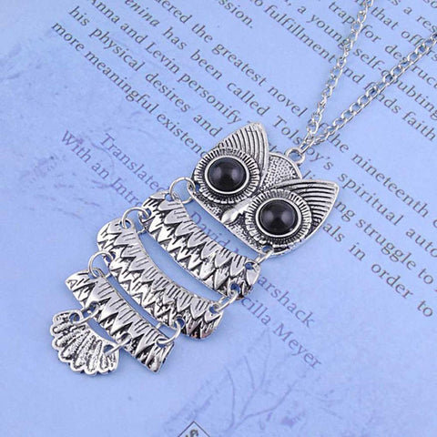Image of Vintage Silver Owl Pendant Necklace
