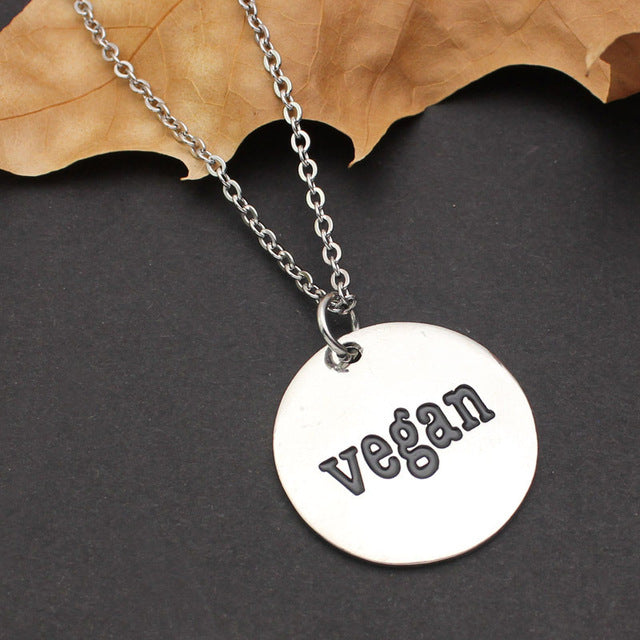 "Lifestyle Necklace With a Pendant ""Go Vegan"""