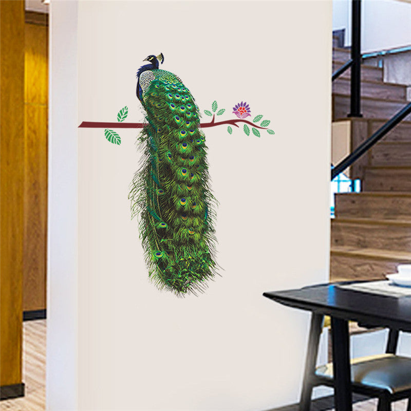 Peacock On Branch Feathers Wall Stickers