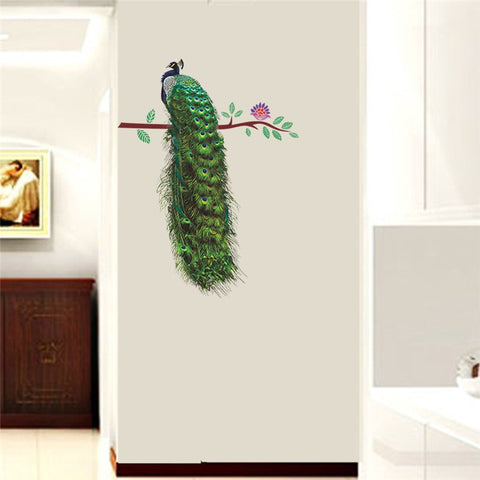Image of Peacock On Branch Feathers Wall Stickers