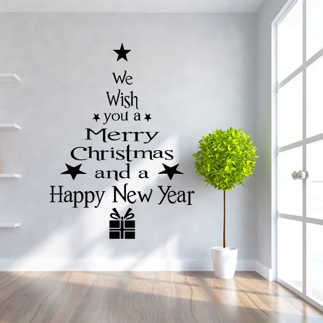 Merry Christmas Tree Letters Sticker