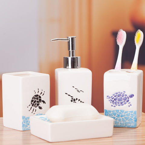"Image of Ceramic Bathroom Set ""Marine"""