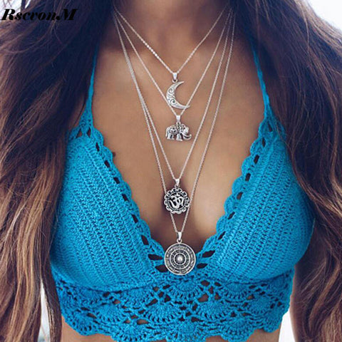 Image of Multi Layer Moon Chain Necklace