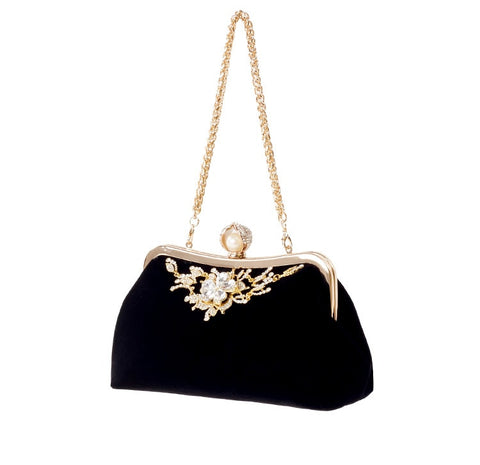Image of Velvet Diamond Pearl Handbag