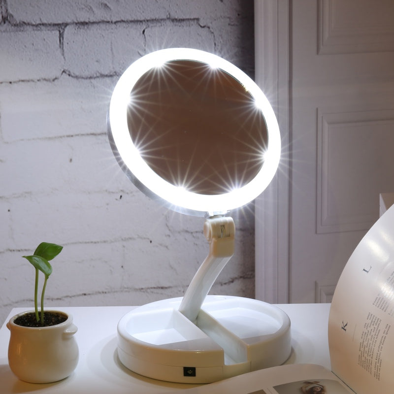 Double-sided Makeup Mirror With Lights