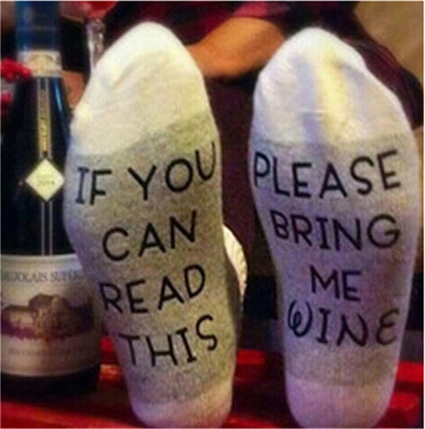 'If You Can Read This Bring Me a Glass of Wine' Socks