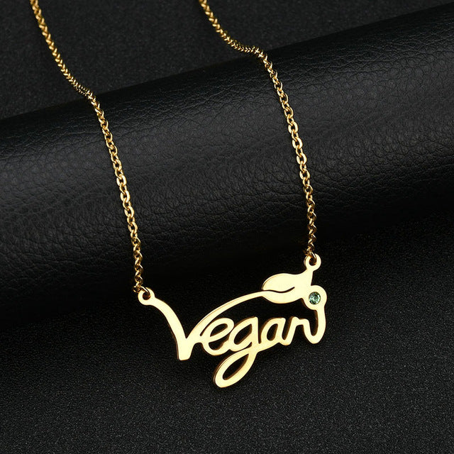 "Necklace with a Letter Pendant ""Vegan"""