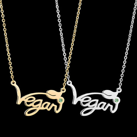 "Image of Necklace with a Letter Pendant ""Vegan"""