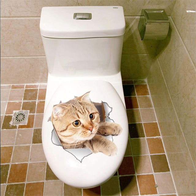 Smashing Cat 3D Sticker