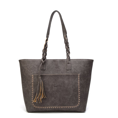Vintage PU Tassel Shoulder Bag